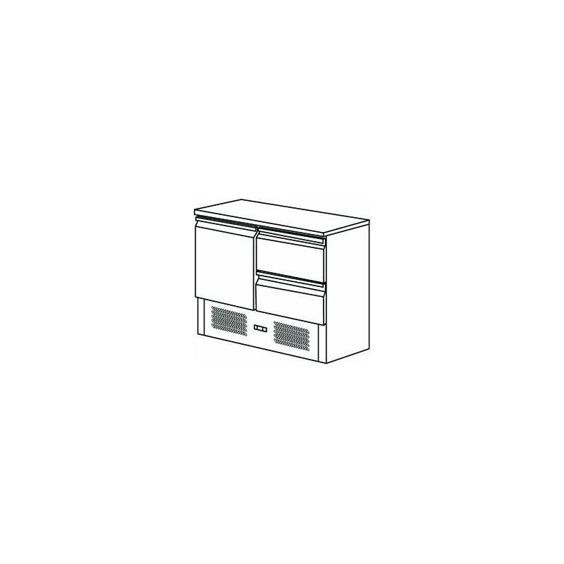FRIGO SALADETTE 1 PORTE ET 2 TIROIRS - Référence FMET1000T