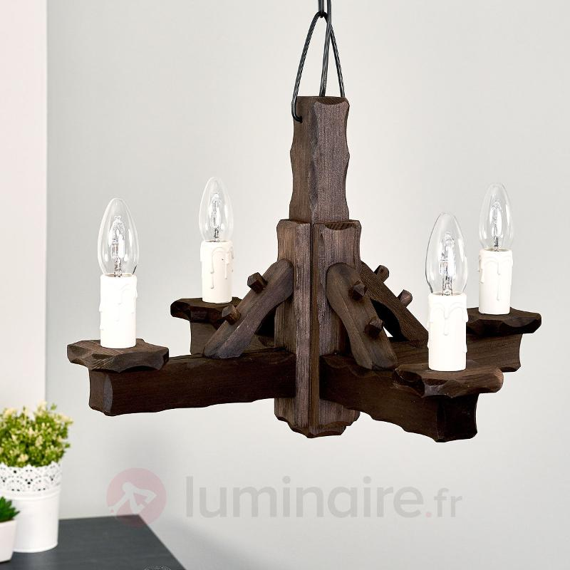 Suspension Rustic en bois à 4 lampes - Suspensions en bois