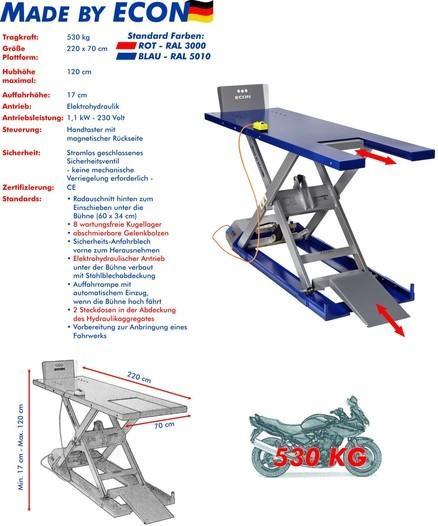 Hebebühne ECON EH 530 Cruiser Rot/ Blau für Zweiräder -