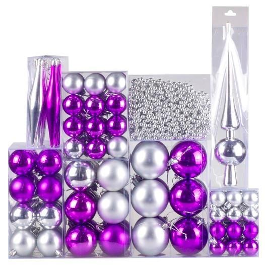 Weihnachtskugel 130-teiliges Set Farbe: Silber / Violett - null