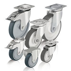 Ruote e supporti in poliuretano - Ruote e ruote con supporto con rivestimento in poliuretano iniettato