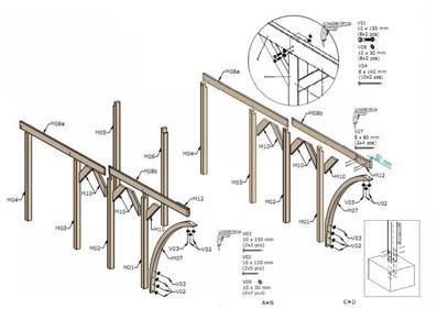 Abri 2 voitures en bois avec atelier - Avec arcs