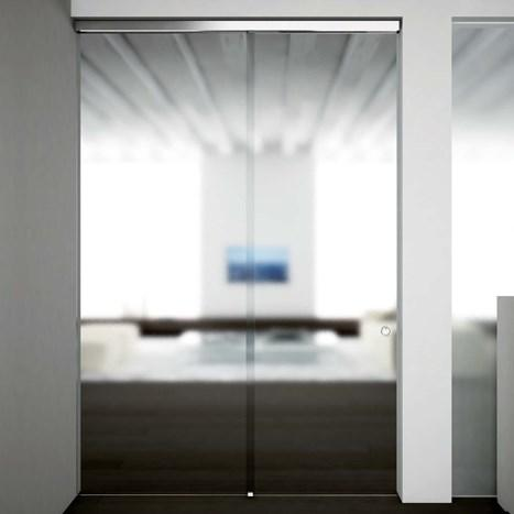 V-5403 - ceiling / wall, sliding door set with fixed glass support profile - Metalglas