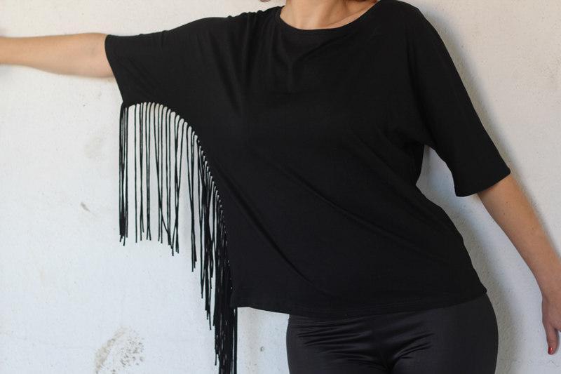 Woman Side Fringe T Shirt  -
