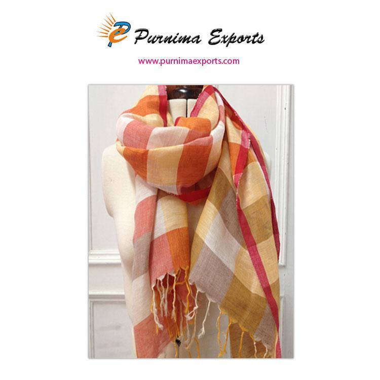 foulard en lin imprimé carreaux orange -