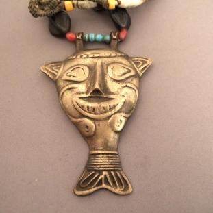 Colliers - Bronze, agates, perles céramique, perles de verre, Inde