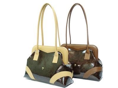 Leather handbag - item 797 - Elegant bicolor leather handbag in patent leather
