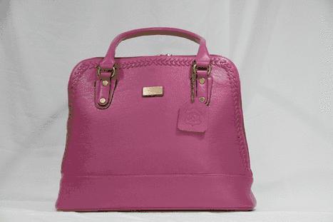 Stylish pink leather bucket handbag