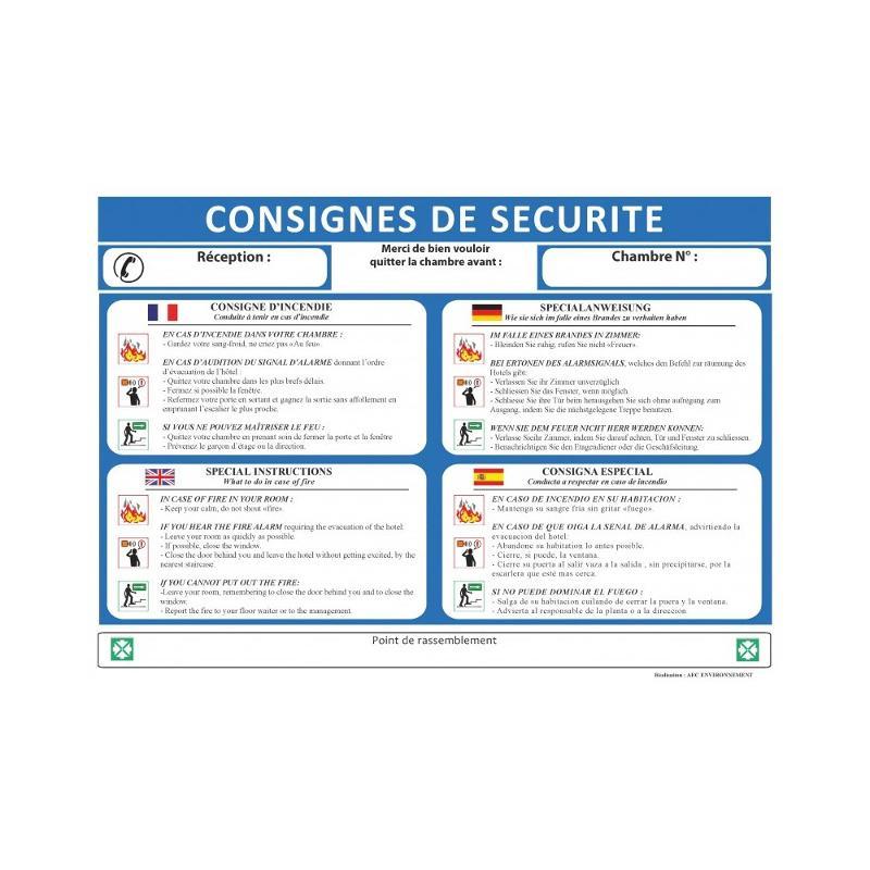 Panneau consignes de securite pour chambre hotel 4... - Panneaux de sécurité