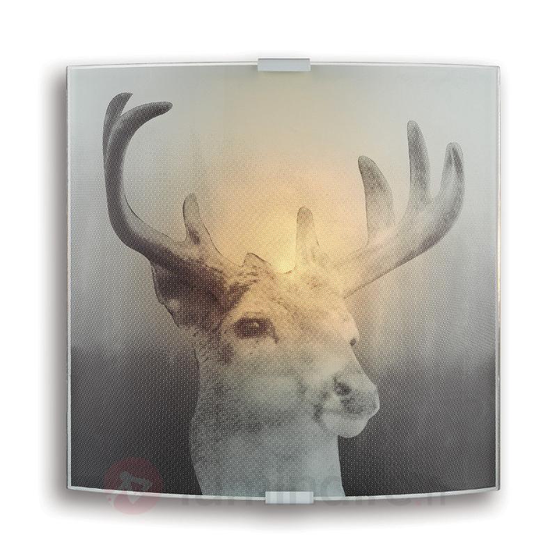 Applique en verre Deer avec motif de cerf - Appliques en verre