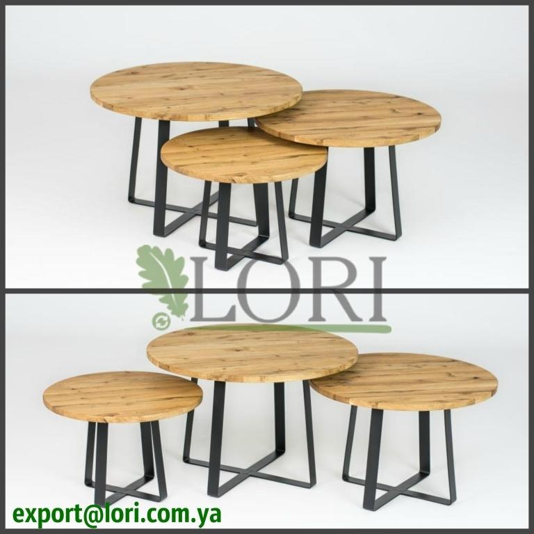 OAK TABLES WITH METAL LEGS - Massive oak tables with metal  from producer