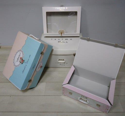 corrugated cardboard suitcases - suitcases of corrugated cardboard with offsetprint and cellophane coating