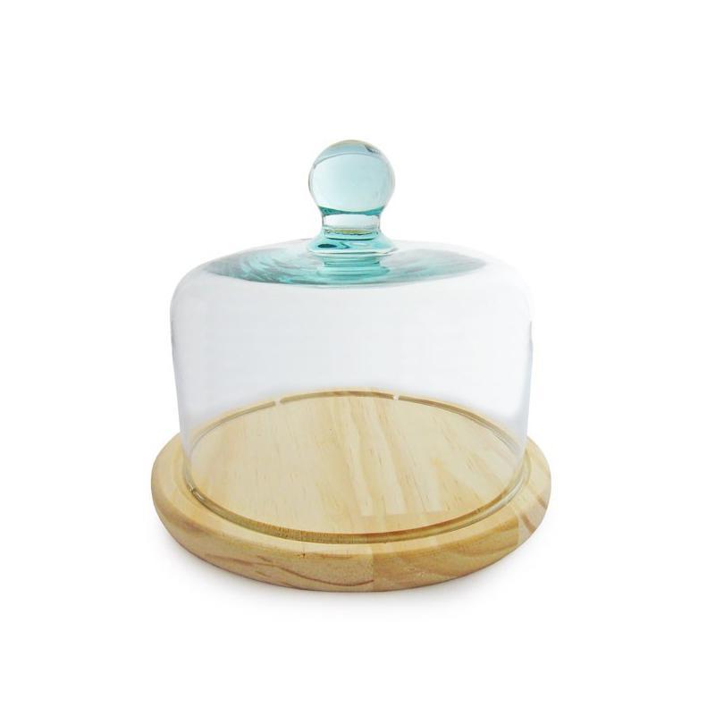 Cloche fromage ou g teau en verre support en bois for Ou trouver des bocaux en verre