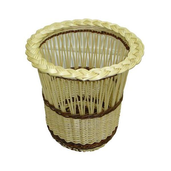 Poubelle de bureau demi-ajourée osier blanc ou 2 tons - null
