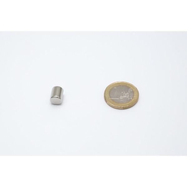 Neodymium disc magnet 8x10mm, N45, Ni-Cu-Ni, Nickel coated - Disc