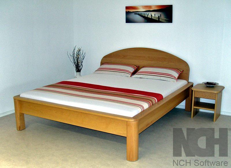 Bett Modell Styl- Rondo - Buche natur Massivholz