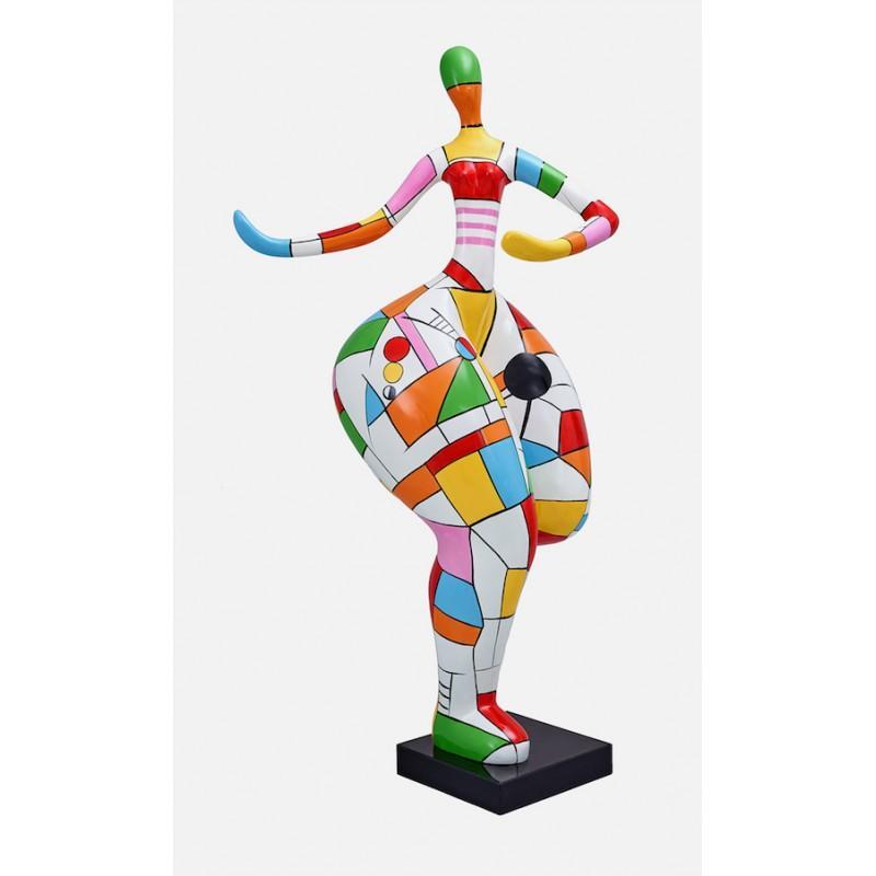 Statue sculpture FEMME ARLEQUIN en résine H140 cm - Saisissante statue en résine et finition colorée et brillante.