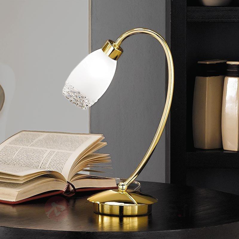 Lampe à poser laiton Ilena avec abat-jour de verre - Lampes de chevet