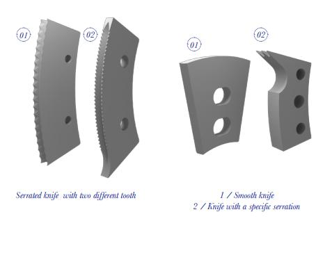 SERRATED KNIFE WITH TWO DIFFERENT TOOTH - BLADES FOR CONVERTING CORRUGATED BOARD - SLOTTER MACHINE