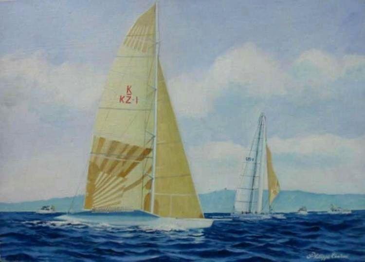 60x40 cm ~ Peinture, Huile, Aquarelle ~ Toile - US1vs KZ (expo San Diego America Cup) 2005
