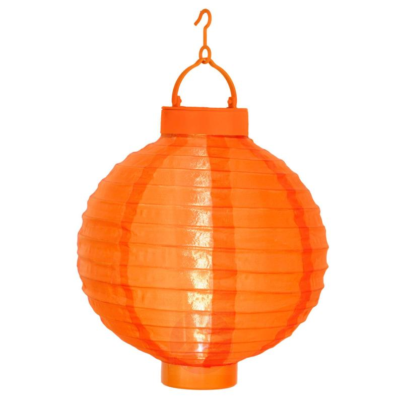 Orange solar lantern Jerrit with LED light - outdoor-led-lights