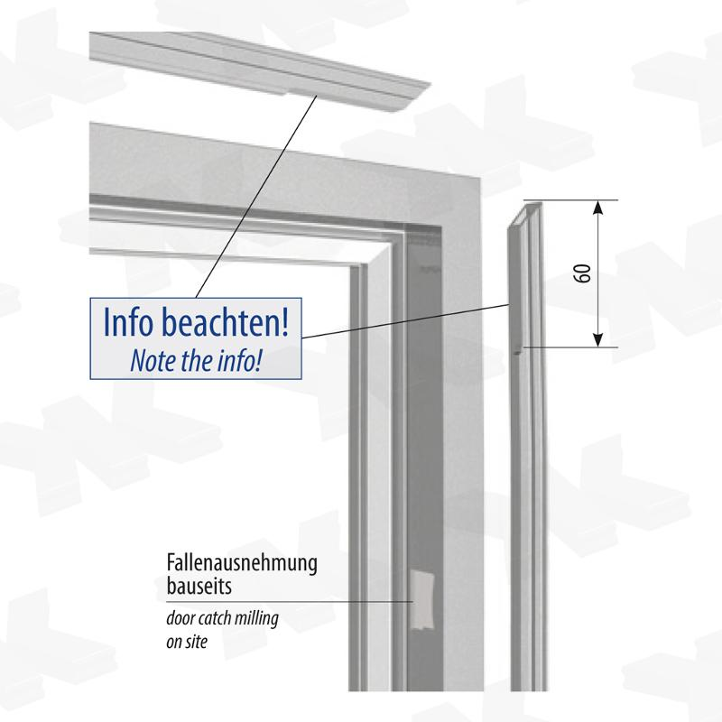 Angular single acting door frame, for ISO 18 mm glass - Glass door frame