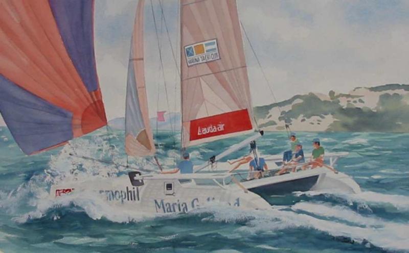 50x65 cm ~ Peinture, Aquarelle - Catamaran 2004