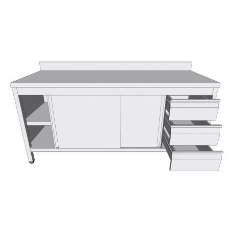 """Table-armoire adossée à portes coulissantes en inox - Hottes inox """"rectangle"""""""