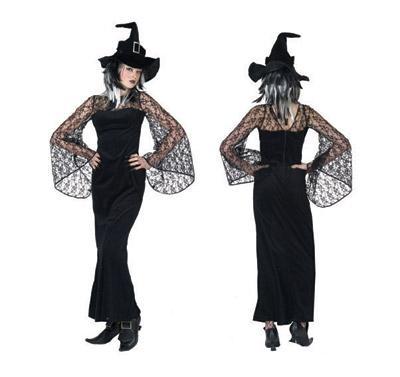 Costume sorcière noir dentelle - Décoration et déguisements pour Halloween