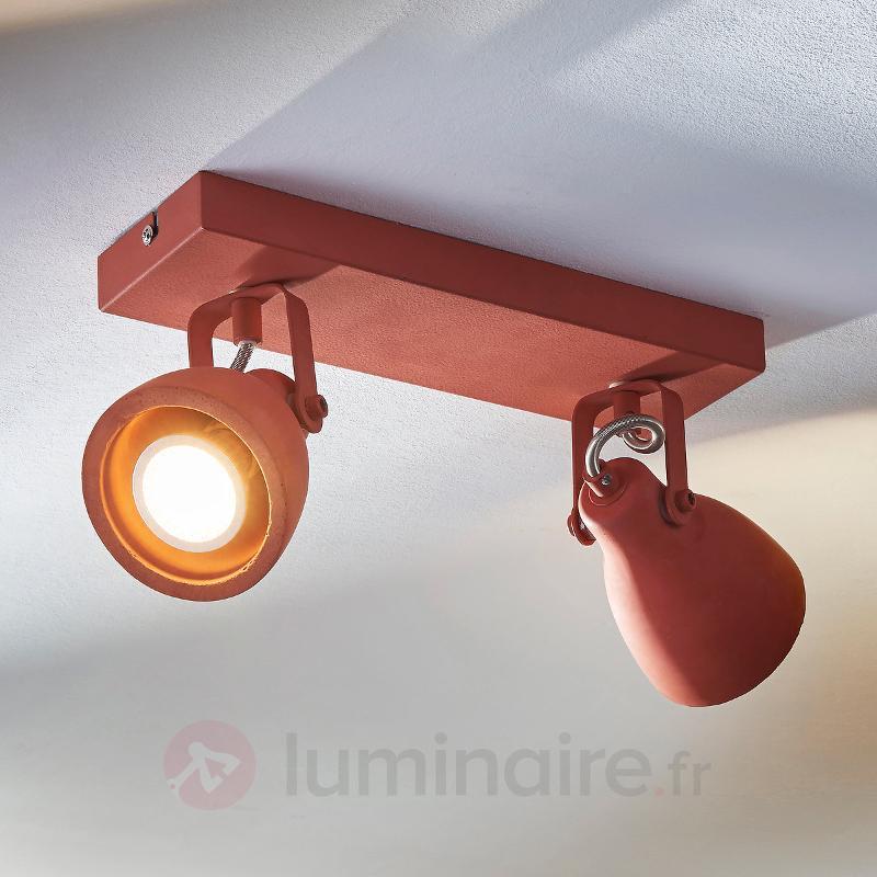 Projecteur rouge LED Kadiga en béton - Spots et projecteurs LED