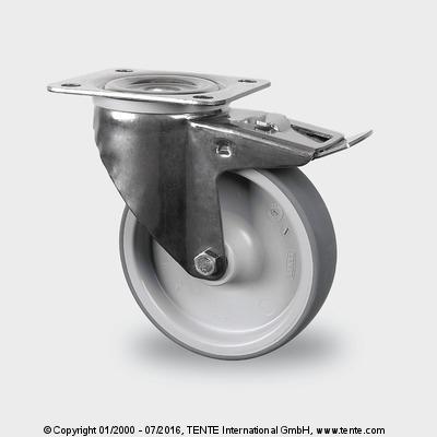 Roulettes en acier inoxydable - Roulettes pivotantes à blocage total, 8477PJD100P62 TFR