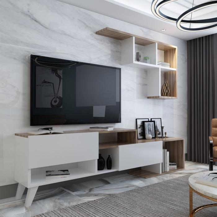 Hadise Wood Tv Stand - Hadise Tv Stand white walnut color 18 mm thickness of melamine chipboard