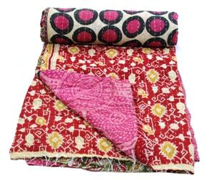 Indian Kantha Quilt Twin Size Bedspread Throw Ralli