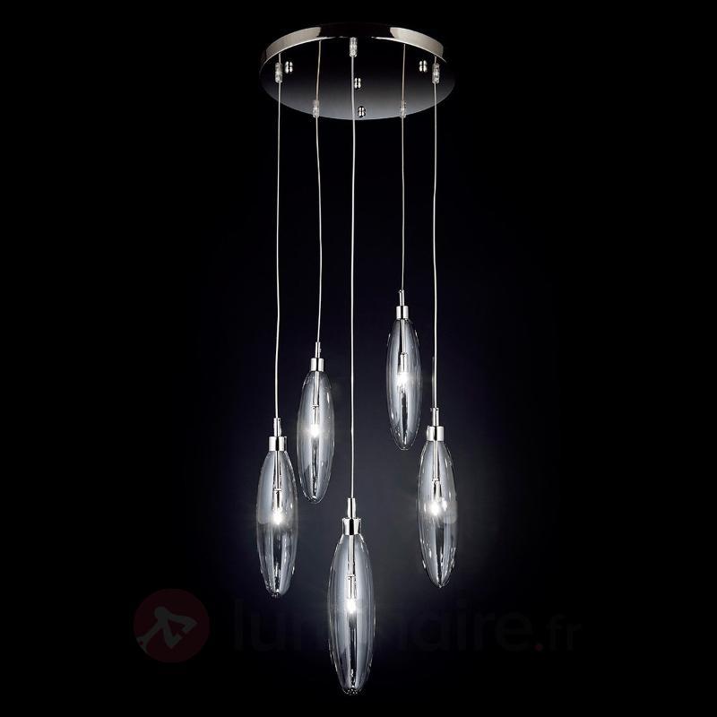 Suspension en verre Flo à 5 lampes, transparent - Toutes les suspensions