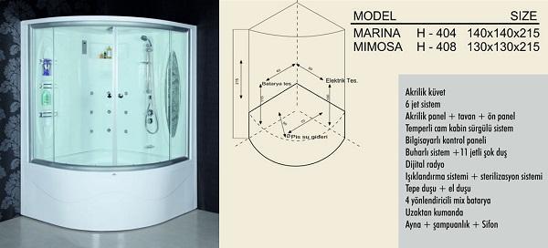 Душевая кабина - Модель Marina, Mimosa