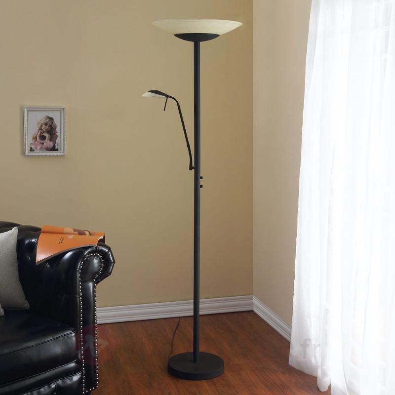 Lampadaire à LED Ragna av. liseuse couleur rouille - Lampadaires LED à éclairage indirect