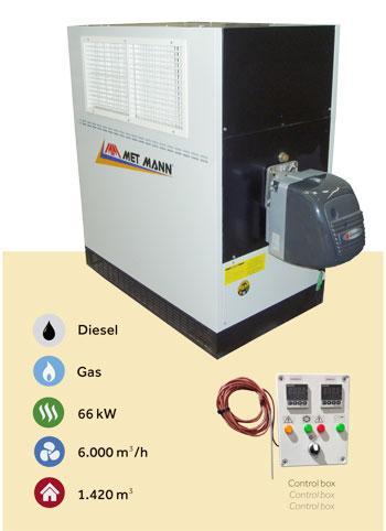 Calefactor industrial de montaje mural - GS - Calefactor industrial de montaje mural a gasóleo o gas - GS