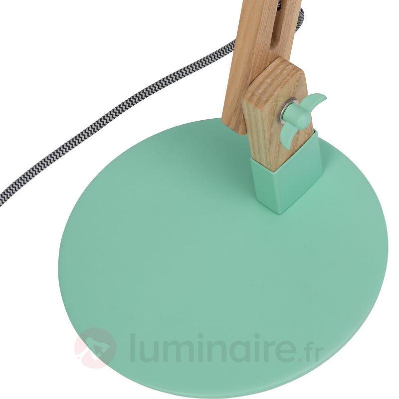 Lampe à poser verte Elias avec éléments en bois - Lampes de bureau