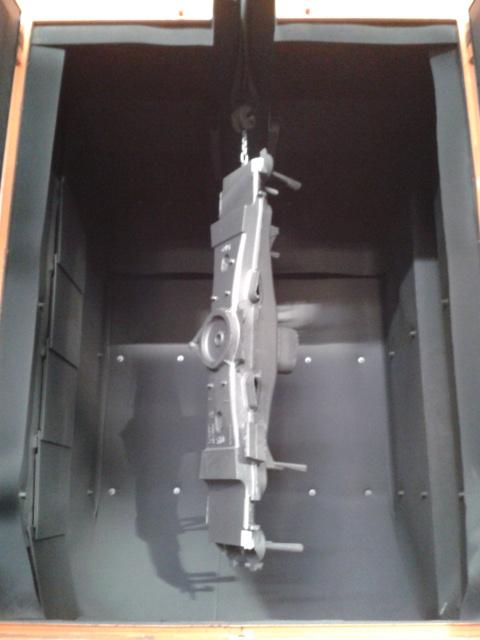 Shot blasting machine with hook