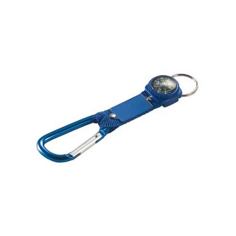 Porte-clés carabiner boussole bleu - Porte-clés métal
