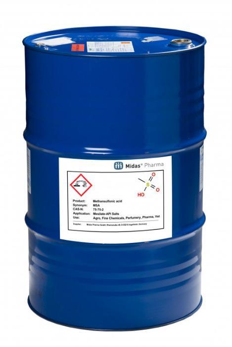 Methansulfonsäure - MSA; 75-75-2; API-Mesilat Salze; Pharma, Vet, Agro, Elektro, Parfüm; Fein-Chemie