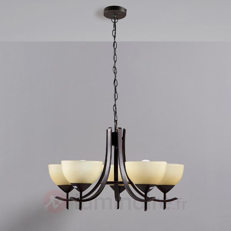 Janos - une suspension à 5 abat-jour en verre - Suspensions classiques, antiques