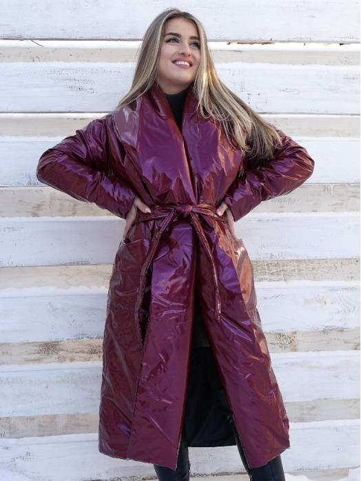 LONG JACKETS - Cherry color women winter long jacket with belt