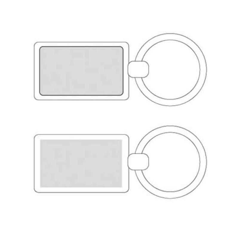 Porte-clés métal rectangle argent - Porte-clés métal