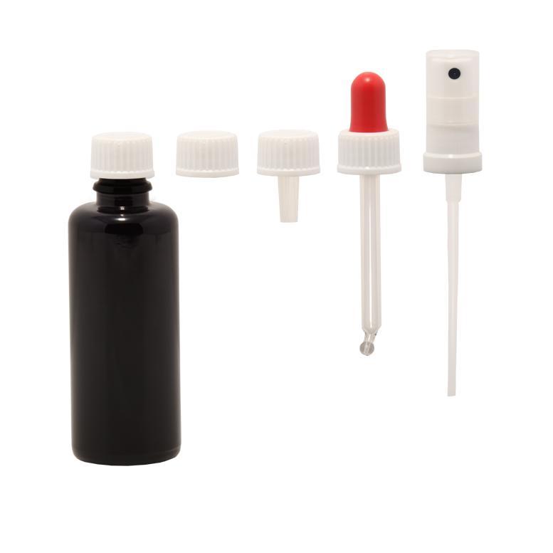 Violettglasflasche 50ml in verschiedenen Varianten - Zubehör