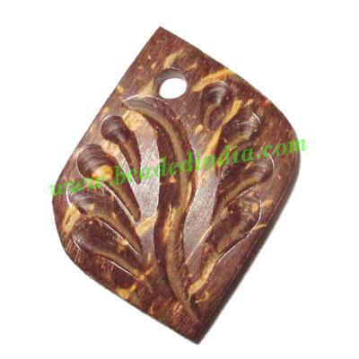 Handmade coconut shell wood pendants, size : 26x16x3mm - Handmade coconut shell wood pendants, size : 26x16x3mm