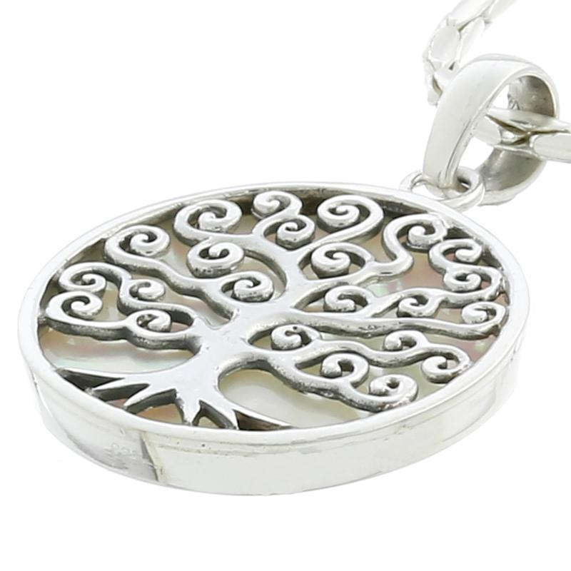 Mother of Pearl Sterling Silver Tree of Life Pendant - Product ID 54286M