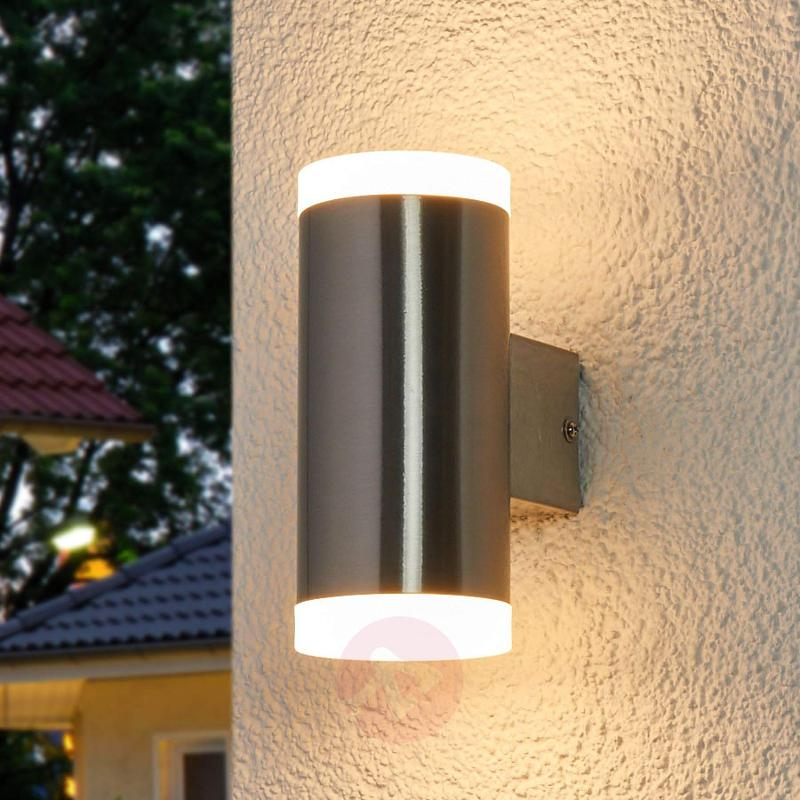 2-bulb LED outdoor wall light Eliano, steel - outdoor-led-lights