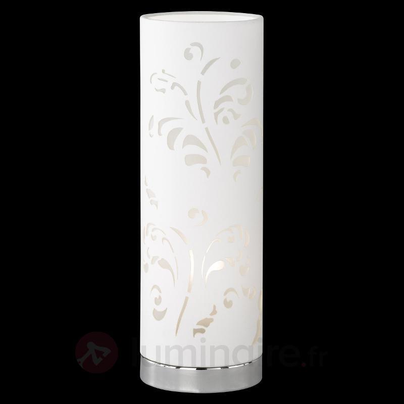 Lampe à poser tubulaire Flora blanche avec décor - Lampes à poser pour rebord de fenêtre