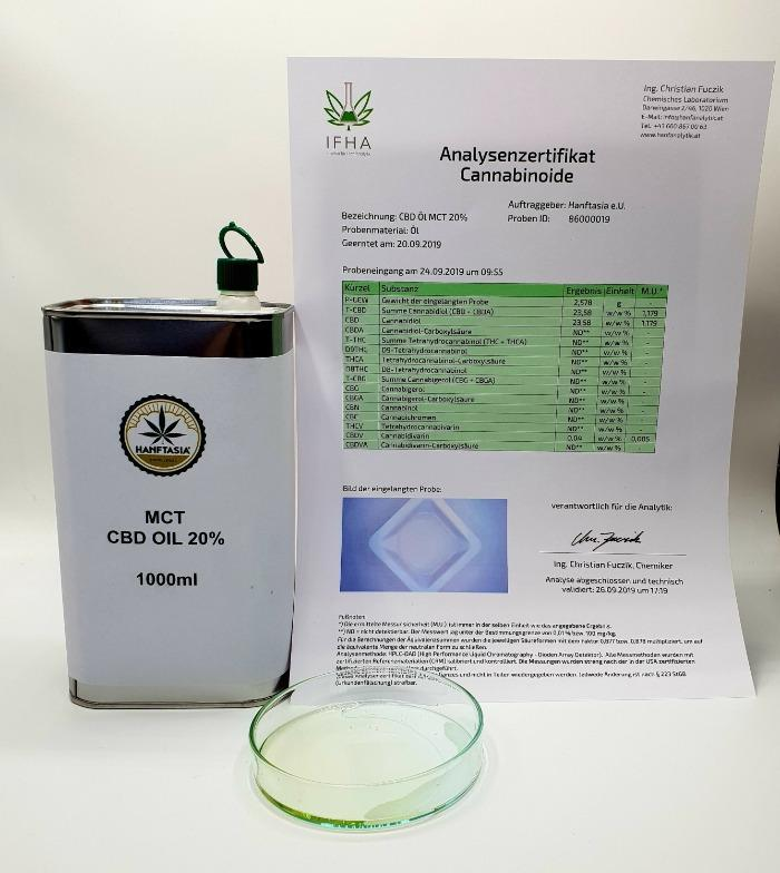 Olio di CBD MCT 20% 1 litro - MCT - L'olio di canapa CBD scende del 20% 1 litro 200.000 mg di CBD